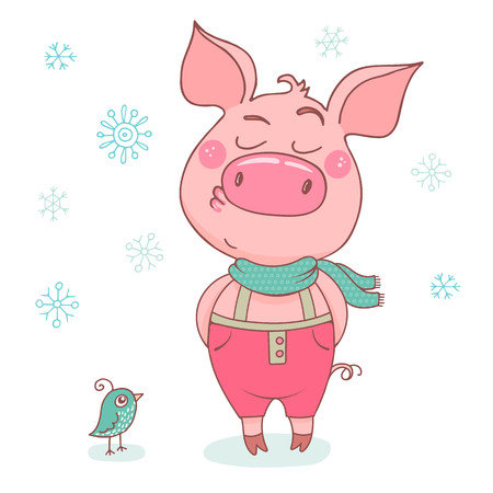 Funny cute pig with an arrogant expression, dressed in in pink pants and scarf. Cheerful vector illustration for design of the New Year on white background with snowflakes. Symbol of the year 2019