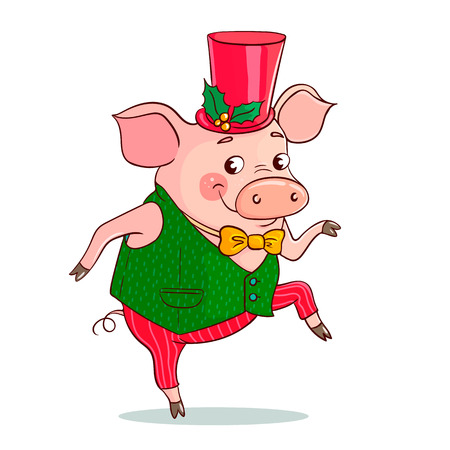 Funny cute pig is dancing. The pig is dressed in a vest and a bow tie, a tall hat decorated with a Christmas flower. Excellent vector illustration for the design of the new year, sales, postcards.