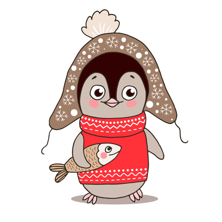 Cute little penguin in warm clothes with fish. Vector illustration on white background. Childish cartoon design for kid t-shirts or greeting cards. Ilustração