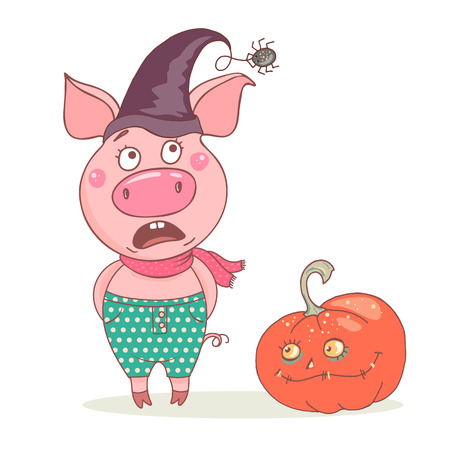 Cute funny pig is afraid of the spider. He is wearing a witch hat. A funny and sinister pumpkin is next to it. Nice design for halloween. Ilustração