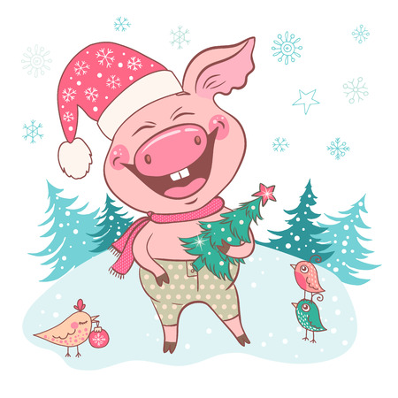 Cute laughing pig dressed in a hat with snowflakes. Piglet holding a Christmas tree. Snow forest backdrop isolated on white. Vector template for greeting card, print. Trendy symbol of 2019 new year.