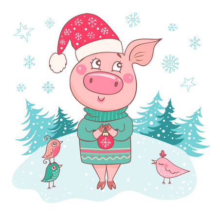 Cute dreamy pig dressed in a a sweater and hat with snowflakes. Snow forest backdrop isolated on white. Vector template for greeting card, print. Trendy symbol of 2019 new year. Ilustração