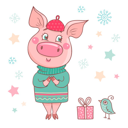 Cute dreamy pig dressed in a a sweater and pink beret. Can be used like sticker, romantic cards for Valentines Day, textiles. Piglet symbol of the Chinese new year Ilustração