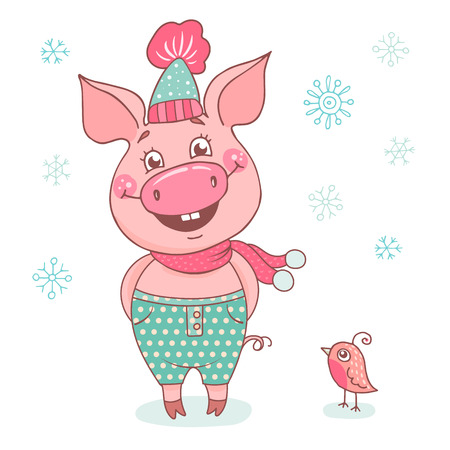 Funny cute laughing pig dressed in a hat with a pink pompon and scarf. Cheerful vector illustration for design of the New Year on white background. Symbol of the year 2019 Ilustração