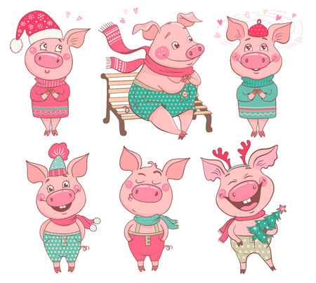 Set of 6 cute pigs with emotions of joy, happiness, in love. Pigs are dressed in hats, a sweater, pants. Cheerful vector illustration for design of the New Year and Christmas. Symbol of the year 2019.