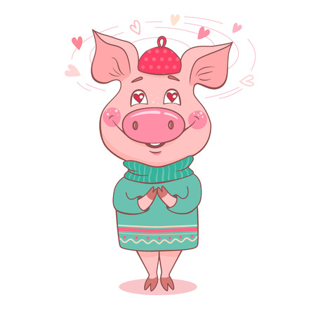 Cute pig fallen in love. Swine dressed in a sweater. In the eyes of a piglet, hearts instead of pupils. Can be used like sticker, romantic cards for Valentines Day, textiles. Symbol of the year 2019.