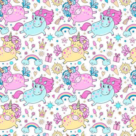 Lovely seamless pattern with cute unicorns, rainbow, clouds, ice cream, sun, hearts and stars. Hand drawn illustration for you design on a white background in cartoon style.
