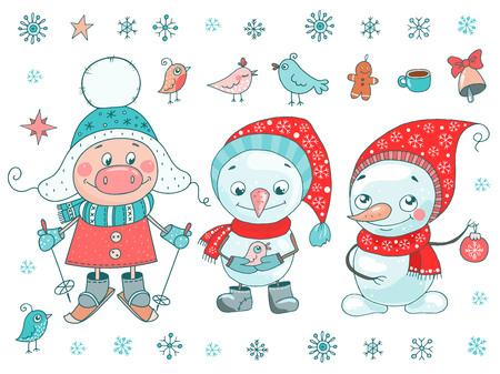 Cute set of pig, snowmen, birds and snowflakes on white background. Christmas vector illustration. Trendy symbol of 2019 new year. Size A4 horizontal Ilustração