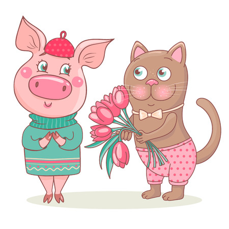 Cute cat gives a bouquet of pink tulips to the pig. Romantic pig is wearing a sweater and beret. She is very happy. Perfect design for a romantic greeting card on Valentines Day, March 8 or birthday.