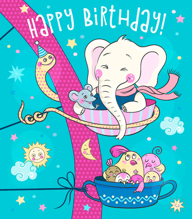 Cute animals - an elephant, a mouse and a family of birds ride on the carousel. Excellent idea for birthday greeting card. Illustration on blue sky background Ilustração