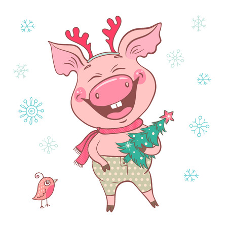 Funny cute laughing pig with Christmas deer horns on his head. Piglet holding a Christmas tree. Cheerful vector illustration for design of the New Year. Symbol of the year 2019.