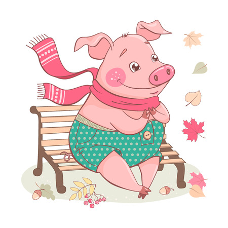 Cute cartoon pig sitting on a bench. He wears polka-dot pants and pink scarf. Isolated objects on white background. Vector illustration Ilustração