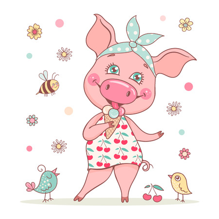 A cute and beautiful pig girl is wearing a bandana and a dress with a cherry print. Piglet eats delicious ice cream. Perfect illustration for postcards, textiles, posters. Ilustração