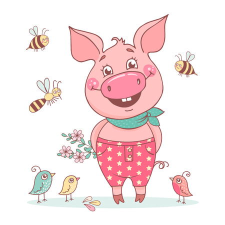Cute smiling pig dressed in pink pants in peas. Bright spring illustration on a white background with bees and bumblebees. Can be used for postcards, posters or textiles.