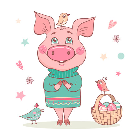 Cute smiling pig in a turquoise sweater with an ornament. Nearby is a basket with Easter eggs and birds. Perfect illustration for Easter cards or prints design. Ilustração