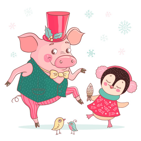 Funny cute pig and penguin are dancing. The pig is dressed in a vest and a bow tie, a tall hat decorated with a Christmas flower. Excellent vector illustration for the design of the new year, postcard