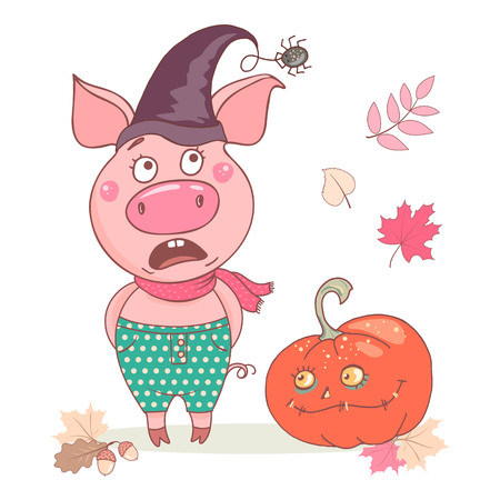 Cute funny pig is afraid of the spider. He is wearing a witch hat. A funny and sinister pumpkin is next to it. Nice design for halloween. Isolated objects on white background. Vector illustration