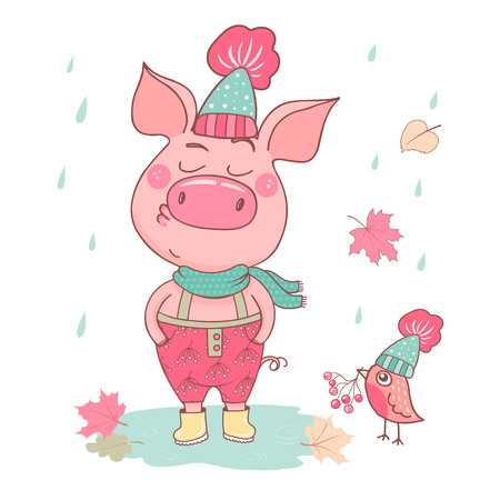 Funny cute pig with an arrogant expression, dressed in in pink pants, hat and scarf. Cheerful vector illustration for your design on white background with background with raindrops and autumn leaves.