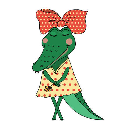 Crocodile girl with closed eyes having flower in her hand. Cute alligator in a dress in peas on white background. Design for postcard and print Ilustração