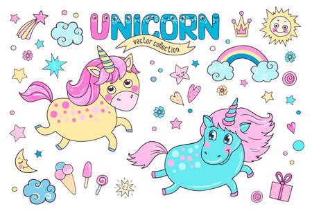 Cute magic collection with two unicorns, rainbow, clouds, ice cream, sun, hearts and stars. Word unicorn from the funny childrens alphabet with the eyes. Lovely hand drawn element set for your design Ilustração
