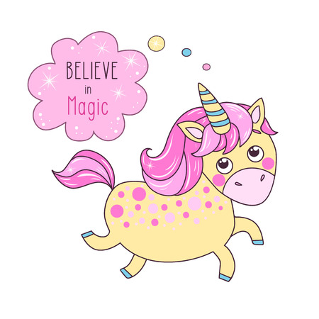 Cute magic yellow unicorn say Believe in magic. Can be used for birthday cards, baby announcement, invitations. Cartoon vector illustration