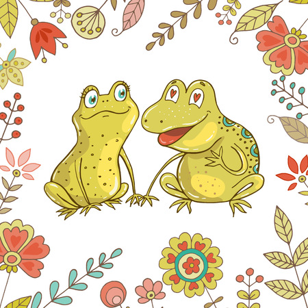 Two cute frogs fallen in love. Vintage set for your design with frogs and flowers. Lovely crafted design for Valentines Day, wedding, postcards and prints.