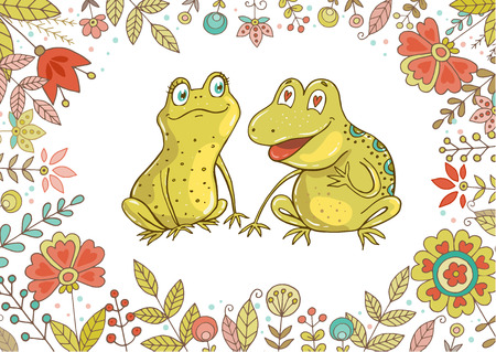 Vintage set for your design with frogs and flowers. Two cute frogs fallen in love. Lovely crafted design for Valentines Day, wedding, postcards and prints. Horizontal size