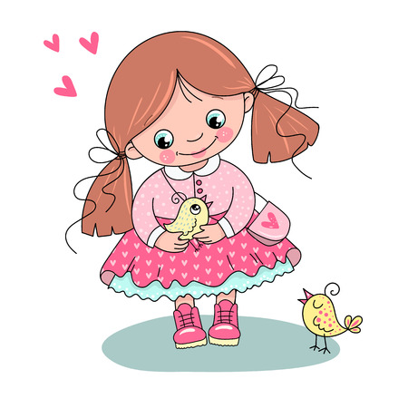 Adorable little girl in a beautiful dress Ilustração