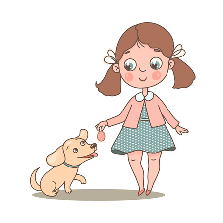 Little cute girl with her beloved dog Ilustração