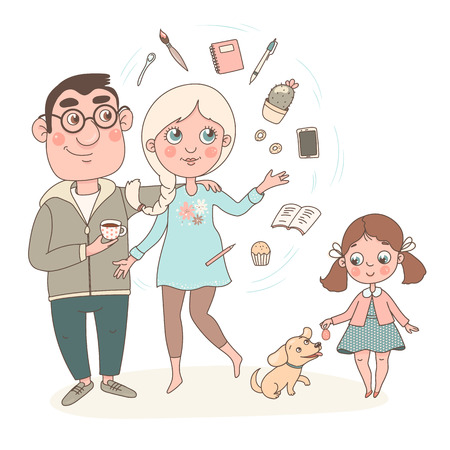 Cute cartoon family consisting of mother, father, daughter and dog. Mom does a lot of things at the same time, things spin around her. Isolated vector image on white background. Ilustração