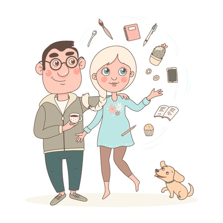 Young man and woman are standing nearby. A girl does a lot of things at the same time and objects rotate around her. A young man with glasses holds a cup of coffee or tea in his hands. Ilustração