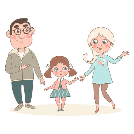Cute cartoon family consisting of mother, father and daughter. Mom and girl look at each other. Isolated vector image on white background. Ilustração