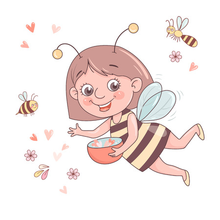 Cute smiling cartoon girl-bee flies surrounded by a honeybee, a bumblebee.
