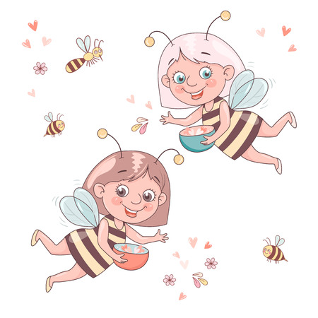 Two cute smiling cartoon girl bee flies surrounded by a honeybees and bumblebees.