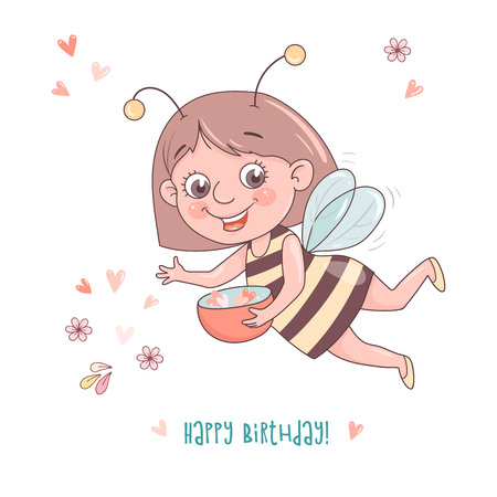 Cute cheerful cartoon girl bee flies through the sky