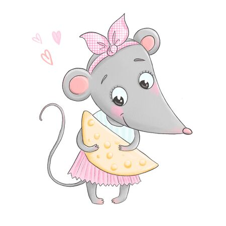 Cute charming little mouse holds a large piece of cheese in her hands Banco de Imagens