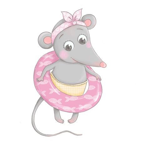 cute and lovely little mouse is wearing a life preserver