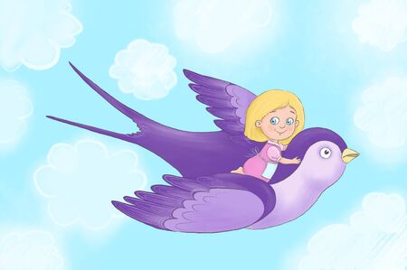 Little cute girl with blond hair, dressed in a pink dress flying on the back of a large bird