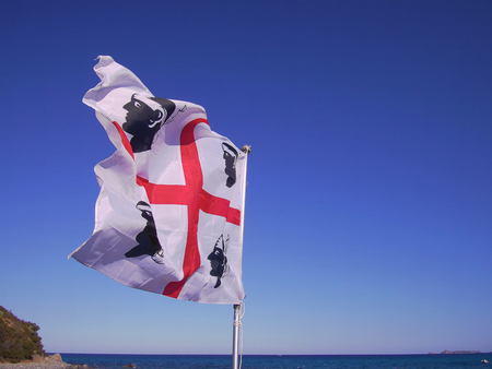 Sardinia flag and sea Stock Photo