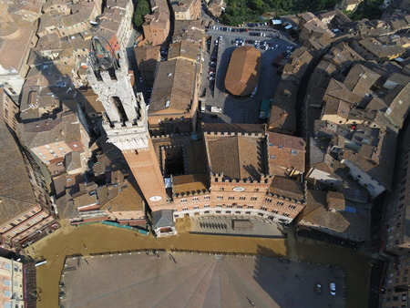 Eat tower in Siena city drone view