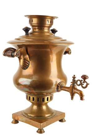 Old Russian samovar on a white background Standard-Bild