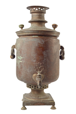 An old samovar of traditional Russian culture that was used for tea.