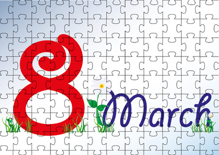 8 march: 8 march puzzle Illustration