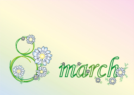 march 8: inscription March 8 camomile Illustration