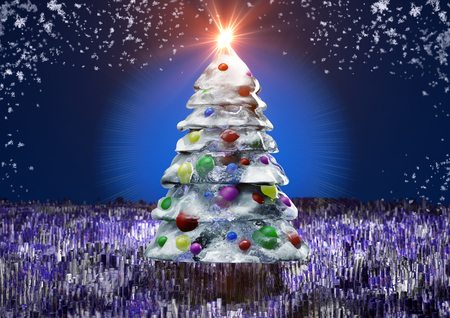 icy: Icy Christmas fir without text on bg Stock Photo