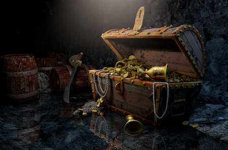 Pirates chest in a dark cave Stock Photo