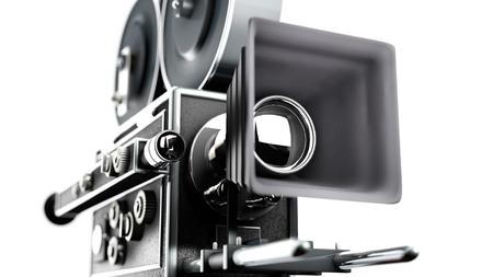 entertainment equipment: Vintage movie camera close up Stock Photo