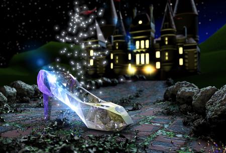 Cinderella's slipper on a road