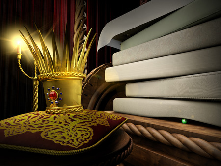 popular tale: 3d illustration of fairytale about Princess and the Pea