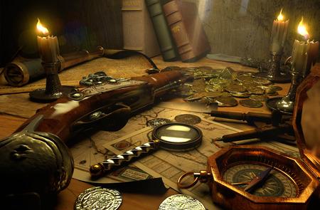 monedas antiguas: accesorios de pirata en una mesa
